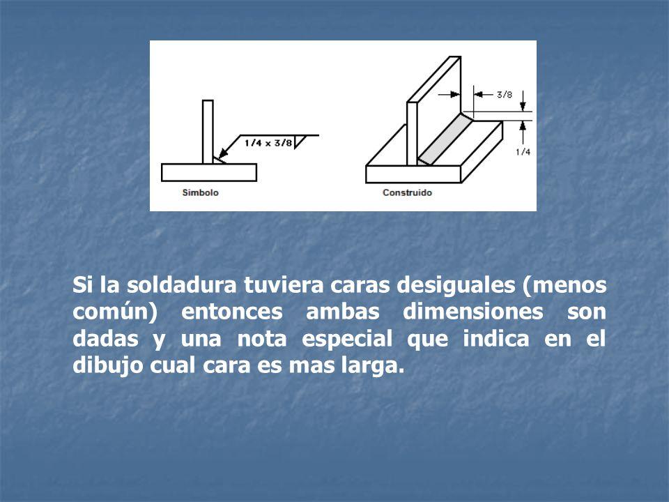 Si la soldadura tuviera caras desiguales (menos común) entonces ambas dimensiones son dadas y una nota especial que indica en el dibujo cual cara es m