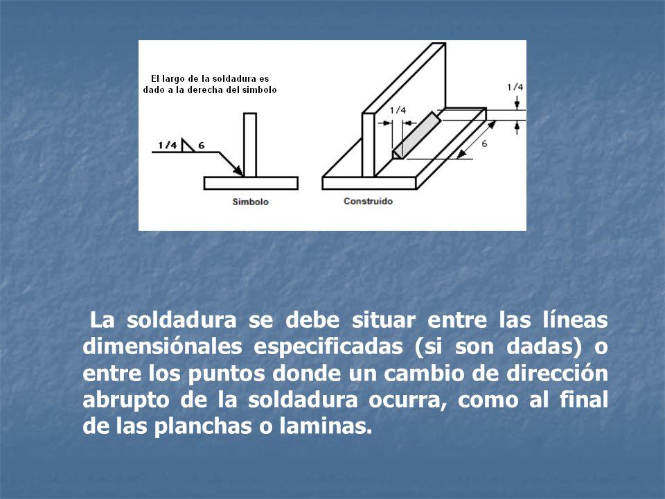 La soldadura se debe situar entre las líneas dimensiónales especificadas (si son dadas) o entre los puntos donde un cambio de dirección abrupto de la