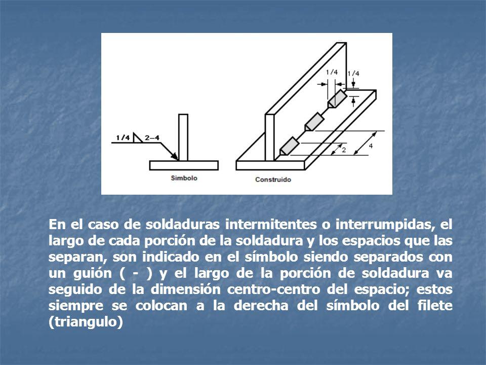 En el caso de soldaduras intermitentes o interrumpidas, el largo de cada porción de la soldadura y los espacios que las separan, son indicado en el sí