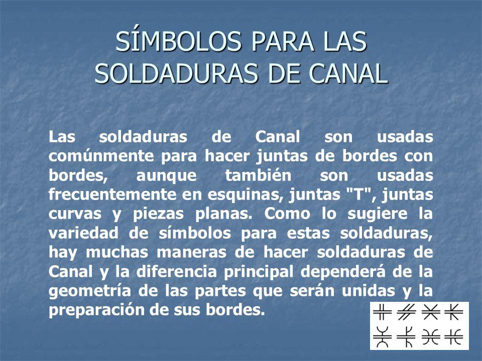 Las soldaduras de Canal son usadas comúnmente para hacer juntas de bordes con bordes, aunque también son usadas frecuentemente en esquinas, juntas