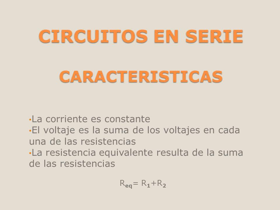 CIRCUITOS EN SERIE CARACTERISTICAS La corriente es constante El voltaje es la suma de los voltajes en cada una de las resistencias La resistencia equi