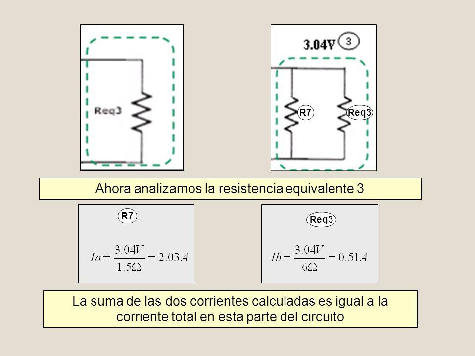 R7 Req3 R7 Req3 Ahora analizamos la resistencia equivalente 3 La suma de las dos corrientes calculadas es igual a la corriente total en esta parte del
