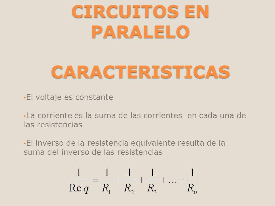 CIRCUITOS EN PARALELO CARACTERISTICAS El voltaje es constante La corriente es la suma de las corrientes en cada una de las resistencias El inverso de