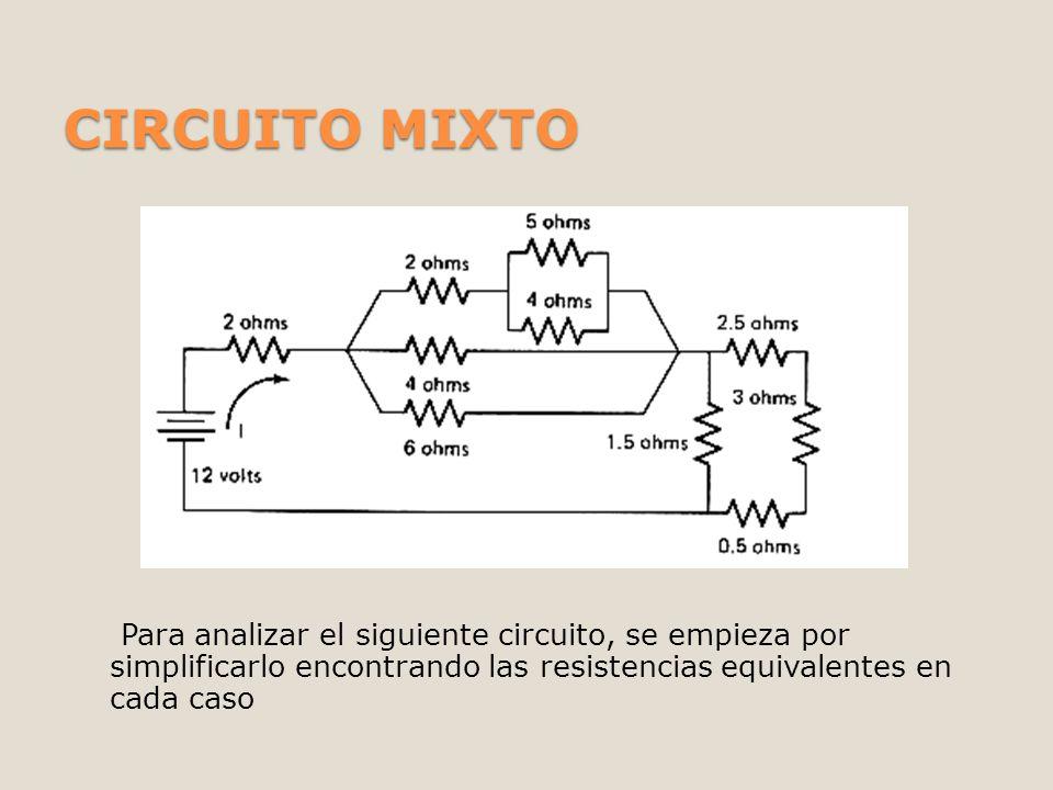 CIRCUITO MIXTO Para analizar el siguiente circuito, se empieza por simplificarlo encontrando las resistencias equivalentes en cada caso