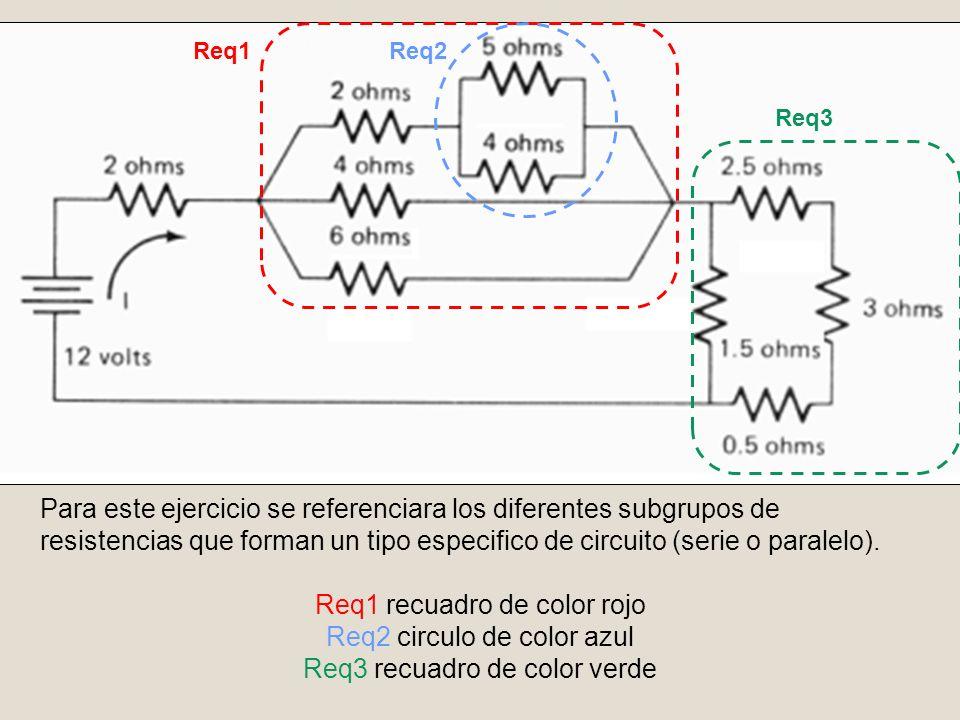 Para este ejercicio se referenciara los diferentes subgrupos de resistencias que forman un tipo especifico de circuito (serie o paralelo). Req1 recuad