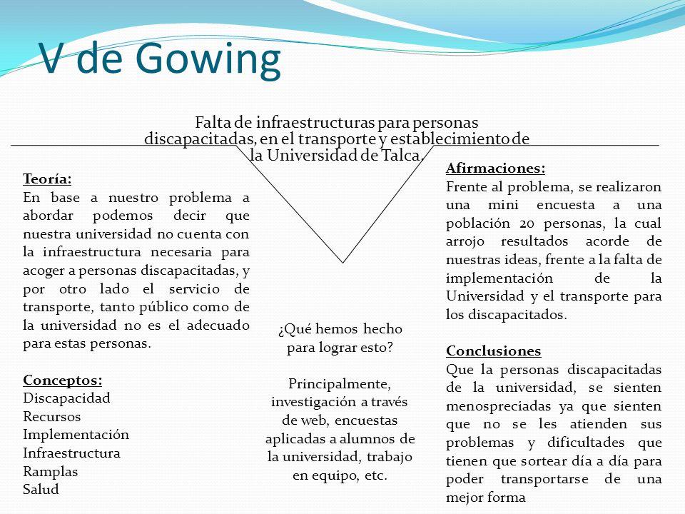 V de Gowing ¿Por qué hoy en día en nuestra Universidad y su locomoción de transporte no se implementan mecanismos que faciliten el desplazamiento y transporte de personas discapacitadas.