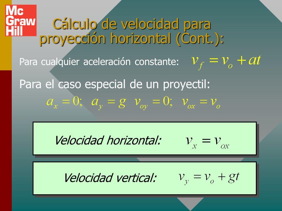Cálculo de desplazamiento para proyección horizontal: Para cualquier aceleración constante: Desplazamiento horizontal : Desplazamiento vertical: Para