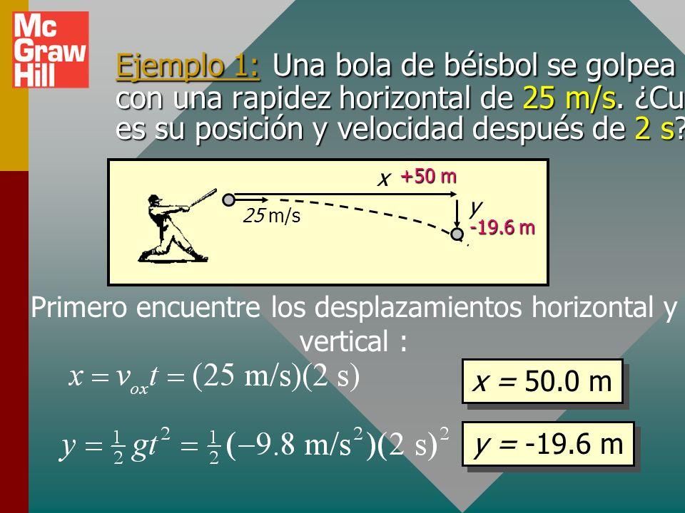 Cálculo de velocidad para proyección horizontal (Cont.): Para cualquier aceleración constante: Velocidad horizontal: Velocidad vertical: Para el caso
