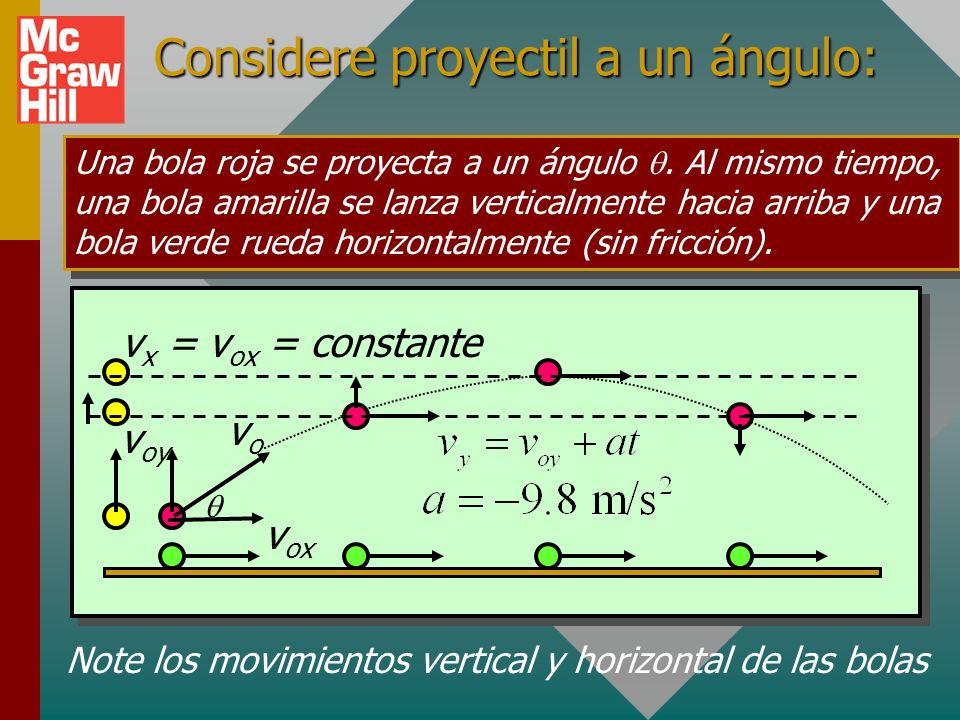 Ejemplo 1 (Cont.): ¿Cuáles son los componentes de la velocidad después de 2 s? 25 m/s Encuentre la velocidad horizontal y vertical después de 2 s: v x
