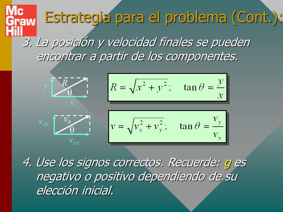 Estrategia para resolución de problemas: 1.Descomponer la velocidad inicial v o en componentes: vovo v ox v oy 2. Encuentre componentes de posición y