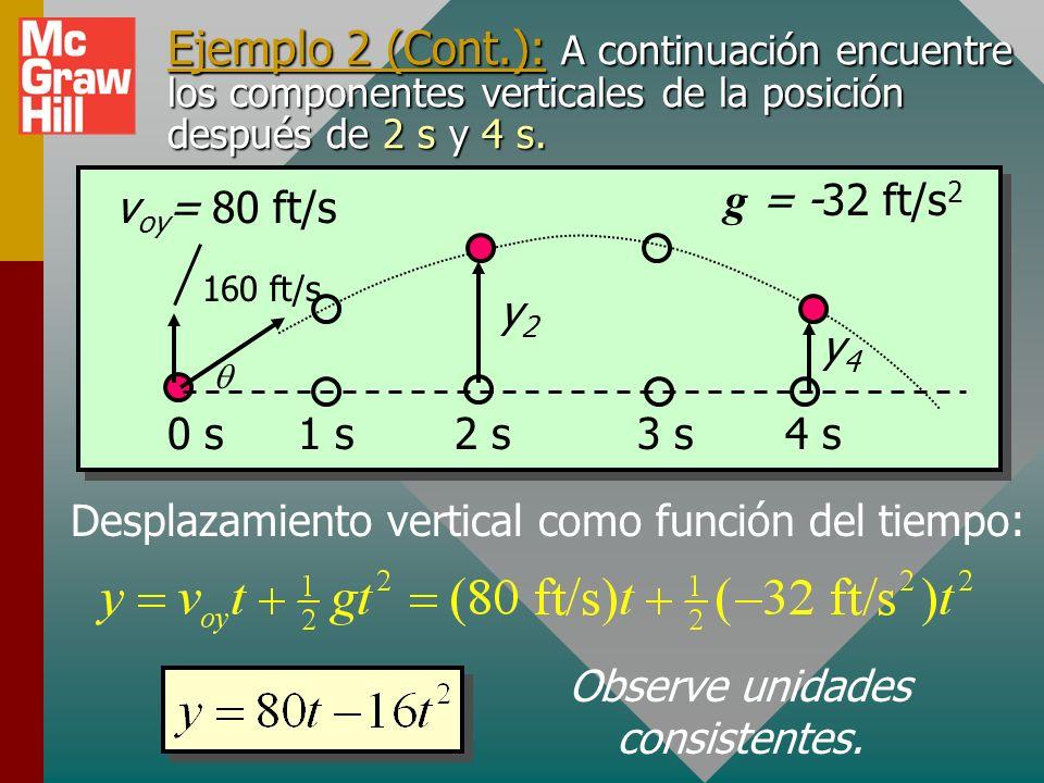 Nota: SÓLO se conoce la ubicación horizontal después de 2 y 4 s. No se sabe si va hacia arriba o hacia abajo. x 2 = 277 ft x 4 = 554 ft Ejemplo 2: (co