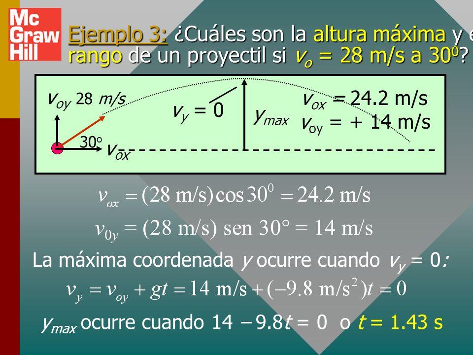 (Cont.) A continuación, encuentre la velocidad después de 4 s a partir de los componentes v 4x y v 4y. v 4 = 146 ft/s = 341.7 0 v oy = 80.0 ft/s 160 f