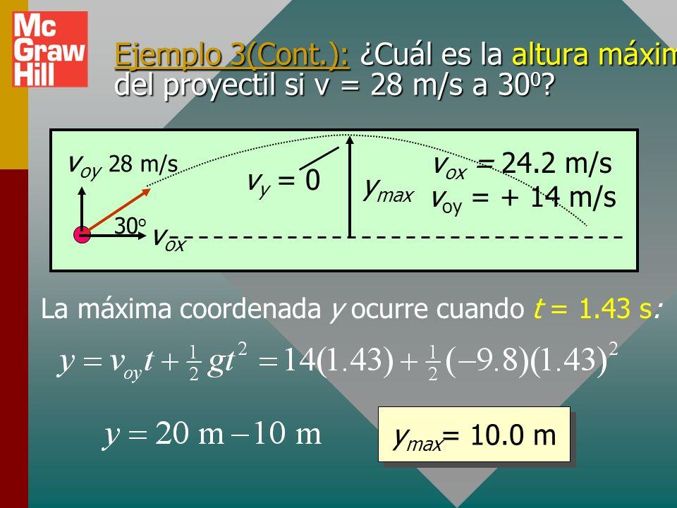Ejemplo 3: ¿Cuáles son la altura máxima y el rango de un proyectil si v o = 28 m/s a 30 0 ? y max ocurre cuando 14 – 9.8t = 0 o t = 1.43 s La máxima c