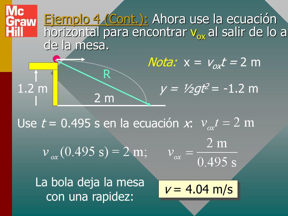 Ejemplo 4: Una bola rueda desde lo alto de una mesa a 1.2 m de altura y aterriza en el suelo a una distancia horizontal de 2 m. ¿Cuál fue la velocidad