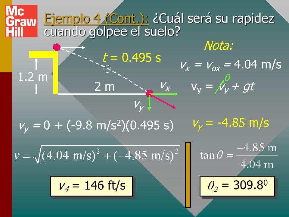 Ejemplo 4 (Cont.): Ahora use la ecuación horizontal para encontrar v ox al salir de lo alto de la mesa. Use t = 0.495 s en la ecuación x: v = 4.04 m/s