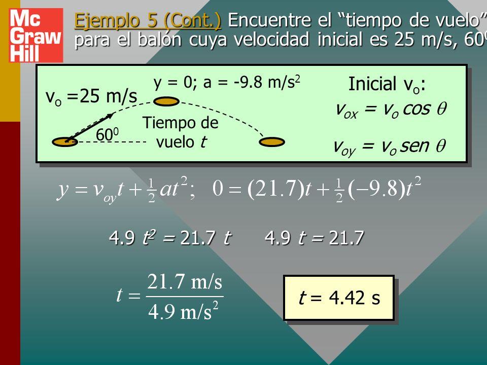 Ejemplo 5. Encuentre el tiempo colgado para el balón cuya velocidad inicial es 25 m/s, 60 0. v o =25 m/s 60 0 y = 0; a = -9.8 m/s 2 Tiempo de vuelo t