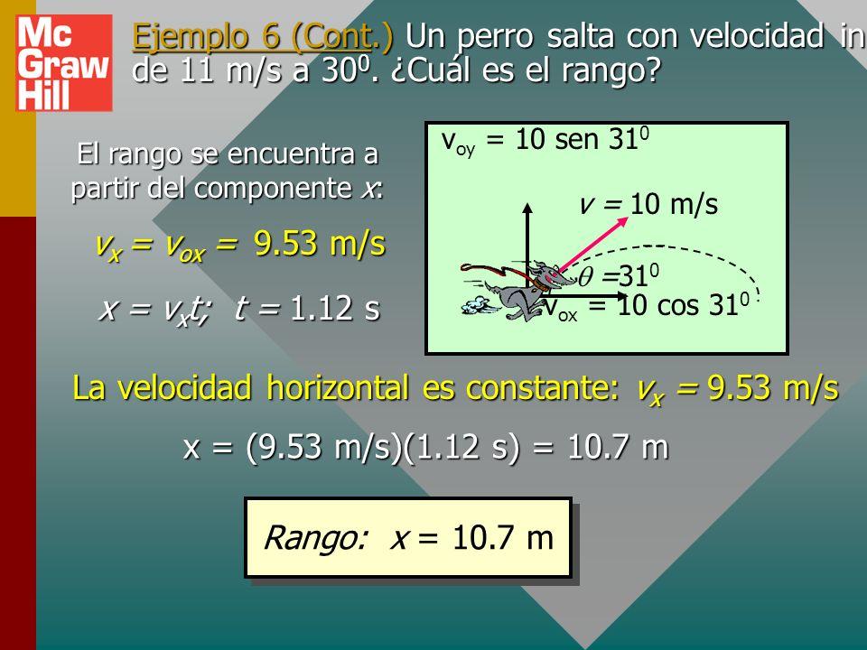 Ejemplo 6. Un perro que corre salta con velocidad inicial de 11 m/s a 30 0. ¿Cuál es el rango? v = 11 m/s =30 0 Dibuje figura y encuentre componentes:
