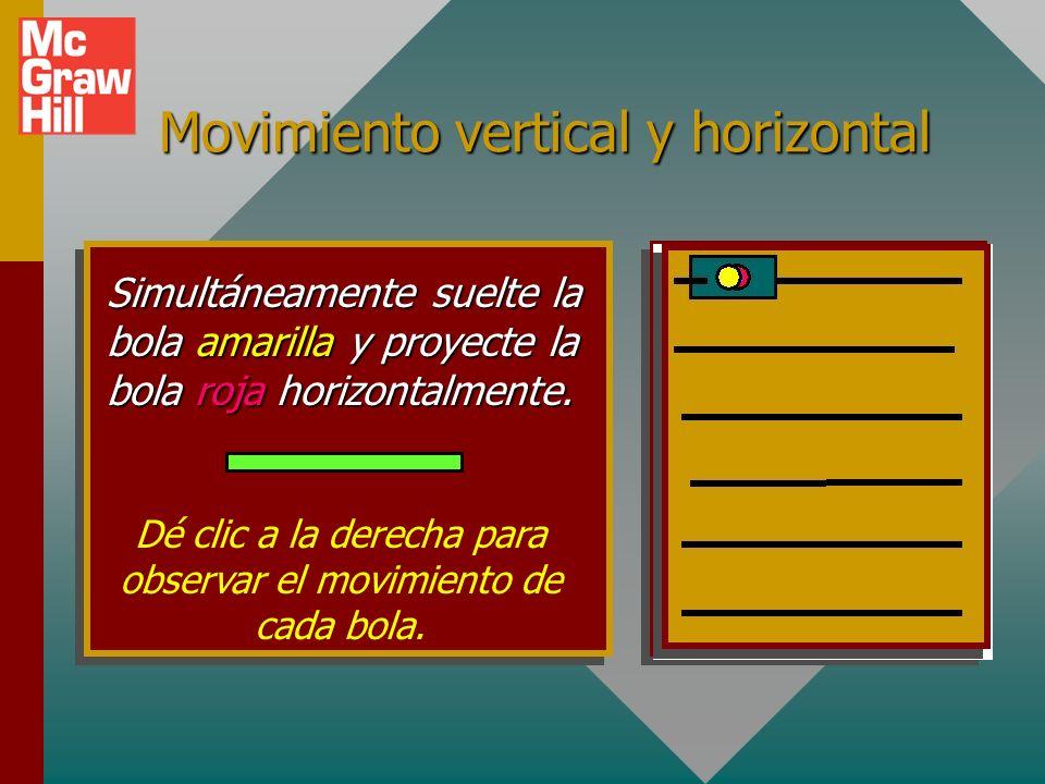 Movimiento vertical y horizontal Simultáneamente suelte la bola amarilla y proyecte la bola roja horizontalmente.