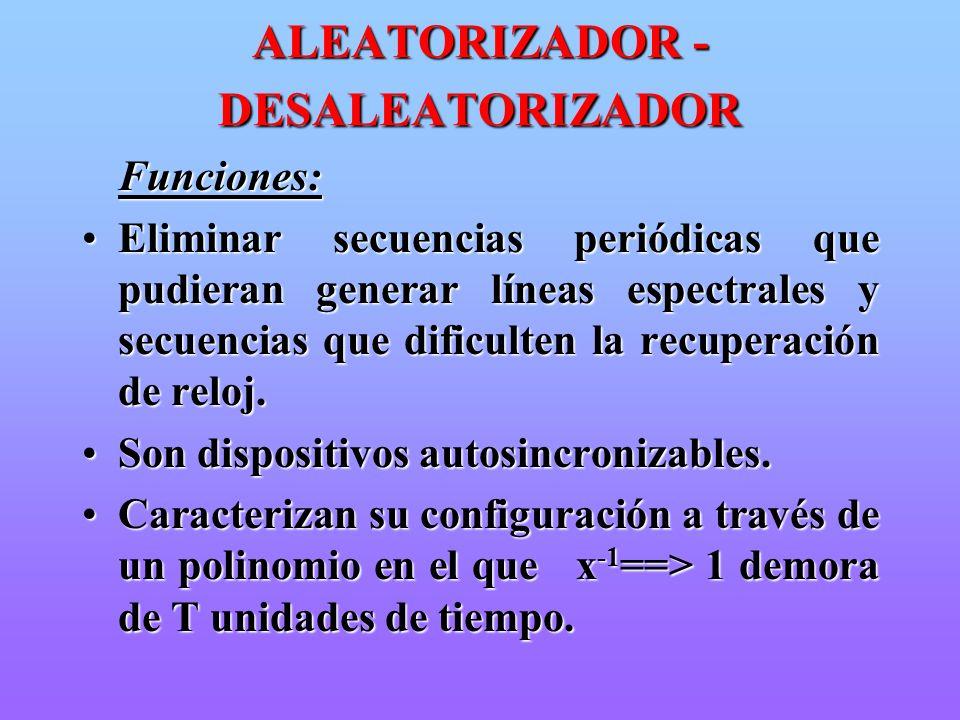 ALEATORIZADOR - DESALEATORIZADOR Funciones: Funciones: Eliminar secuencias periódicas que pudieran generar líneas espectrales y secuencias que dificul