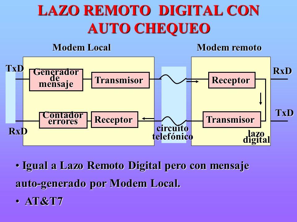 Igual a Lazo Remoto Digital pero con mensaje auto-generado por Modem Local. Igual a Lazo Remoto Digital pero con mensaje auto-generado por Modem Local