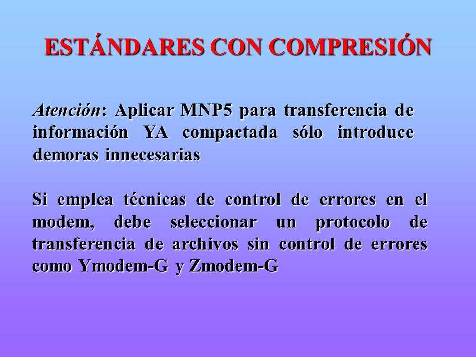 Atención: Aplicar MNP5 para transferencia de información YA compactada sólo introduce demoras innecesarias Si emplea técnicas de control de errores en