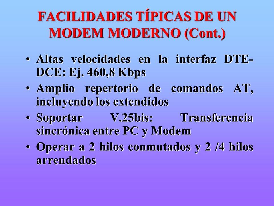 FACILIDADES TÍPICAS DE UN MODEM MODERNO (Cont.) Altas velocidades en la interfaz DTE- DCE: Ej. 460,8 KbpsAltas velocidades en la interfaz DTE- DCE: Ej