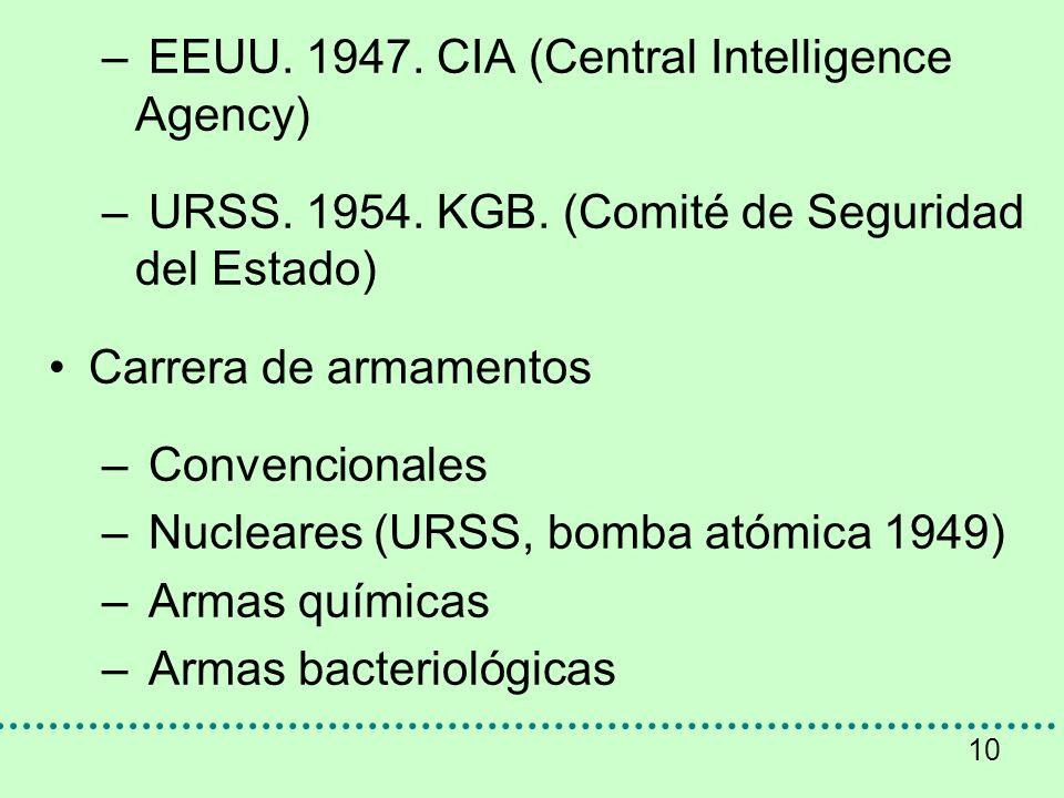 10 – EEUU. 1947. CIA (Central Intelligence Agency) – URSS. 1954. KGB. (Comité de Seguridad del Estado) Carrera de armamentos – Convencionales – Nuclea