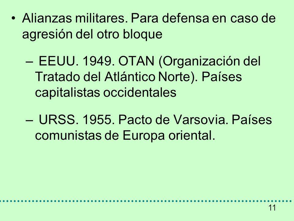 11 Alianzas militares. Para defensa en caso de agresión del otro bloque – EEUU. 1949. OTAN (Organización del Tratado del Atlántico Norte). Países capi