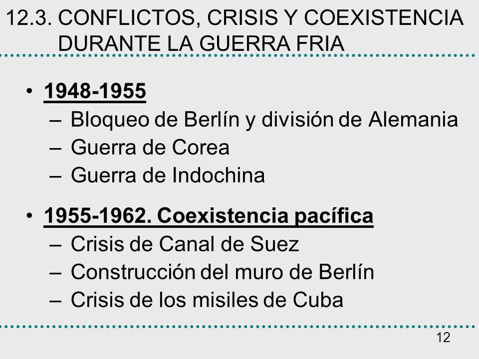 12 12.3. CONFLICTOS, CRISIS Y COEXISTENCIA DURANTE LA GUERRA FRIA 1948-1955 – Bloqueo de Berlín y división de Alemania – Guerra de Corea – Guerra de I