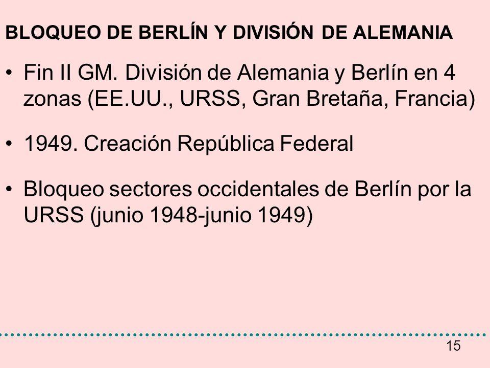 15 BLOQUEO DE BERLÍN Y DIVISIÓN DE ALEMANIA Fin II GM. División de Alemania y Berlín en 4 zonas (EE.UU., URSS, Gran Bretaña, Francia) 1949. Creación R