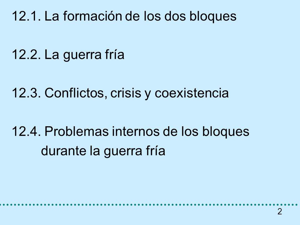 2 12.1. La formación de los dos bloques 12.2. La guerra fría 12.3. Conflictos, crisis y coexistencia 12.4. Problemas internos de los bloques durante l
