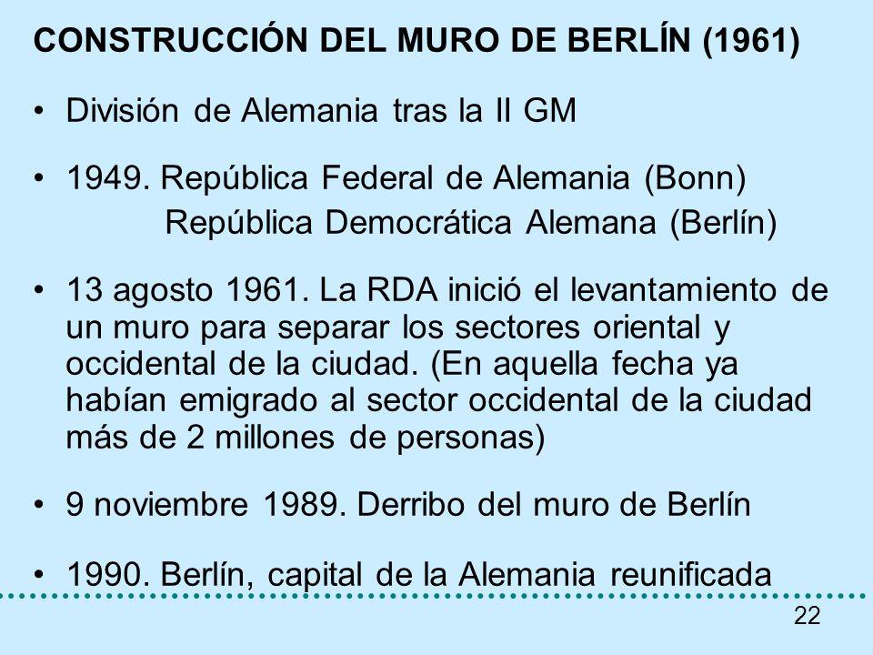 22 CONSTRUCCIÓN DEL MURO DE BERLÍN (1961) División de Alemania tras la II GM 1949. República Federal de Alemania (Bonn) República Democrática Alemana