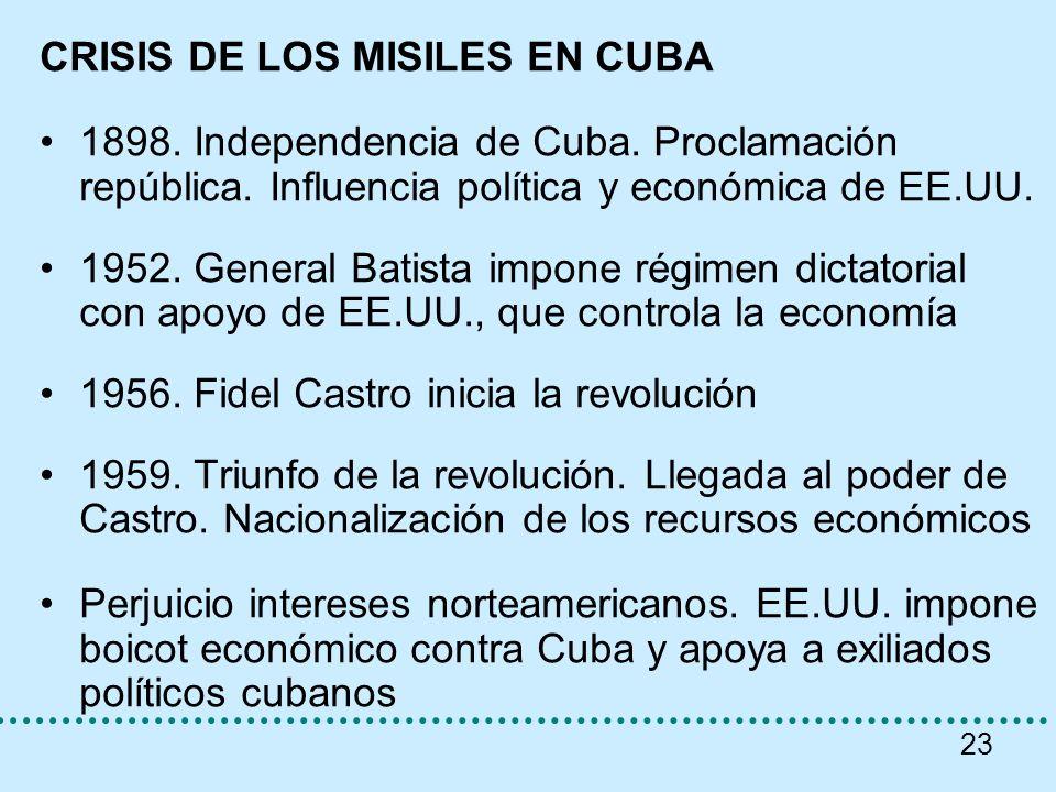 23 CRISIS DE LOS MISILES EN CUBA 1898. Independencia de Cuba. Proclamación república. Influencia política y económica de EE.UU. 1952. General Batista