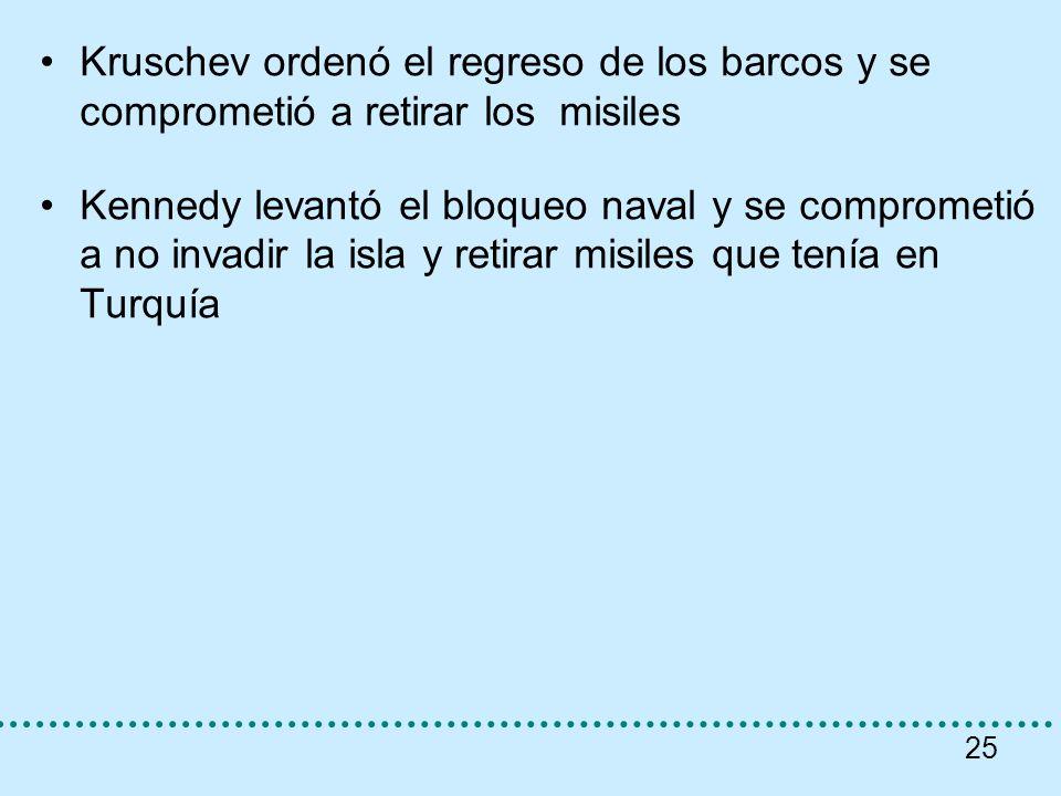 25 Kruschev ordenó el regreso de los barcos y se comprometió a retirar los misiles Kennedy levantó el bloqueo naval y se comprometió a no invadir la i