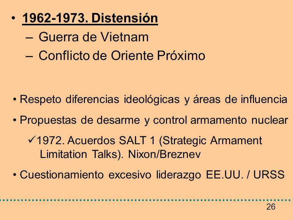 26 1962-1973. Distensión – Guerra de Vietnam – Conflicto de Oriente Próximo Respeto diferencias ideológicas y áreas de influencia Propuestas de desarm