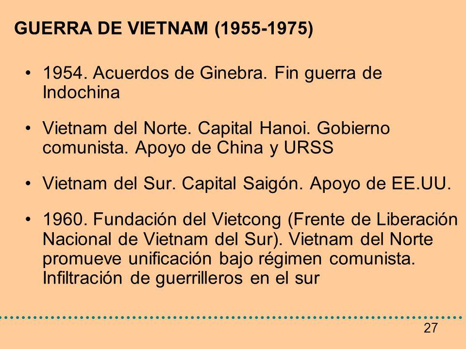 27 GUERRA DE VIETNAM (1955-1975) 1954. Acuerdos de Ginebra. Fin guerra de Indochina Vietnam del Norte. Capital Hanoi. Gobierno comunista. Apoyo de Chi