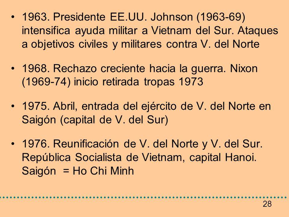 28 1963. Presidente EE.UU. Johnson (1963-69) intensifica ayuda militar a Vietnam del Sur. Ataques a objetivos civiles y militares contra V. del Norte