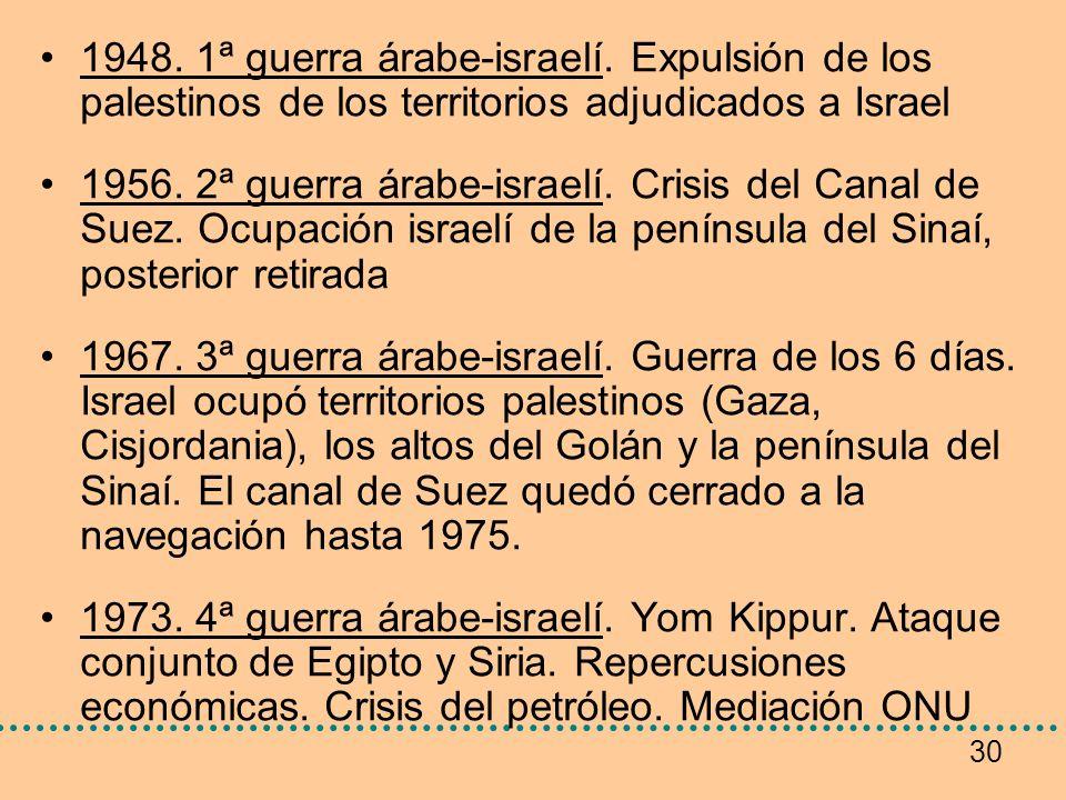 30 1948. 1ª guerra árabe-israelí. Expulsión de los palestinos de los territorios adjudicados a Israel 1956. 2ª guerra árabe-israelí. Crisis del Canal