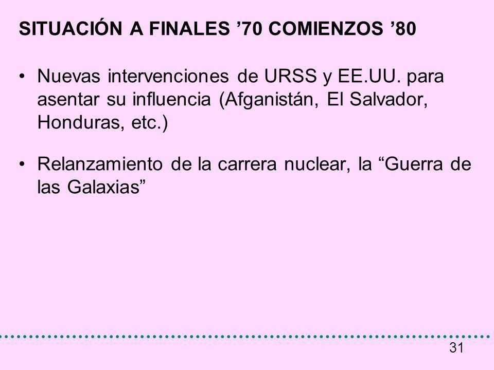 31 SITUACIÓN A FINALES 70 COMIENZOS 80 Nuevas intervenciones de URSS y EE.UU. para asentar su influencia (Afganistán, El Salvador, Honduras, etc.) Rel