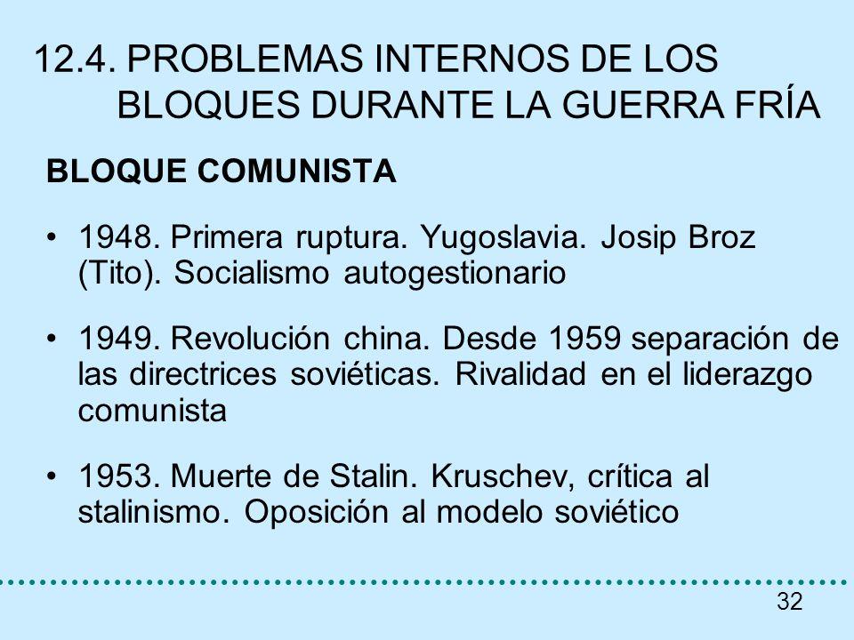 32 12.4. PROBLEMAS INTERNOS DE LOS BLOQUES DURANTE LA GUERRA FRÍA BLOQUE COMUNISTA 1948. Primera ruptura. Yugoslavia. Josip Broz (Tito). Socialismo au