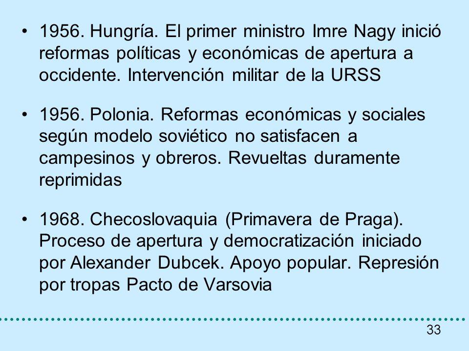 33 1956. Hungría. El primer ministro Imre Nagy inició reformas políticas y económicas de apertura a occidente. Intervención militar de la URSS 1956. P