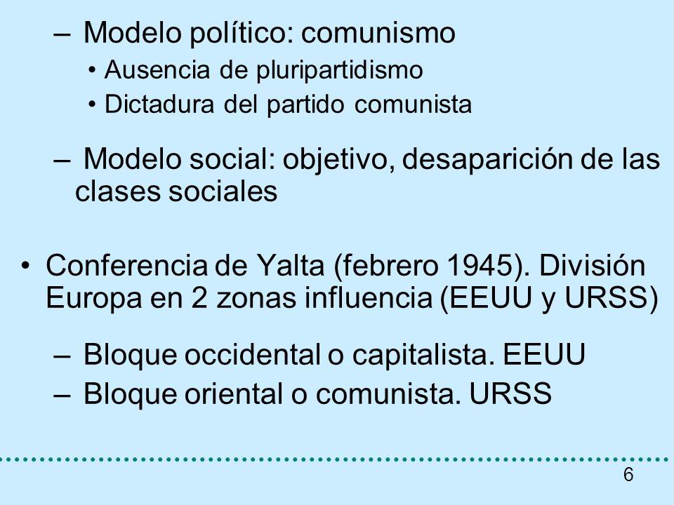6 – Modelo político: comunismo Ausencia de pluripartidismo Dictadura del partido comunista – Modelo social: objetivo, desaparición de las clases socia