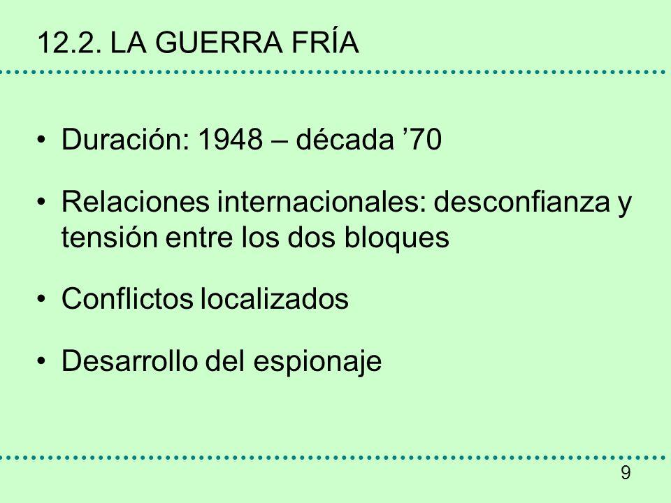 9 12.2. LA GUERRA FRÍA Duración: 1948 – década 70 Relaciones internacionales: desconfianza y tensión entre los dos bloques Conflictos localizados Desa