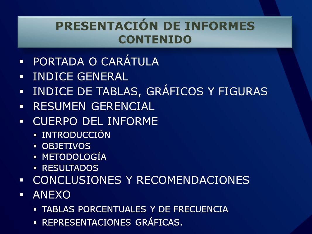 PRESENTACIÓN DE INFORMES CONTENIDO PORTADA O CARÁTULA INDICE GENERAL INDICE DE TABLAS, GRÁFICOS Y FIGURAS RESUMEN GERENCIAL CUERPO DEL INFORME INTRODU