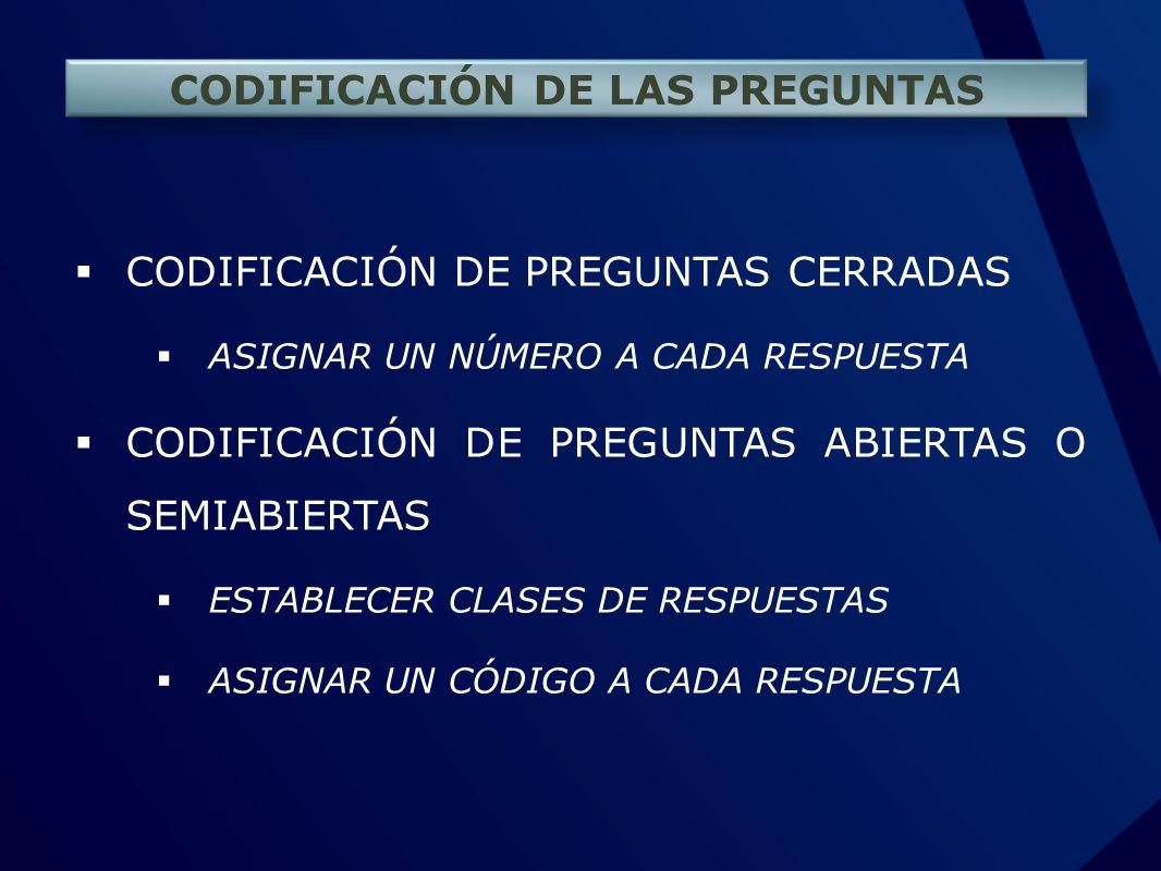CODIFICACIÓN DE LAS PREGUNTAS CODIFICACIÓN DE PREGUNTAS CERRADAS ASIGNAR UN NÚMERO A CADA RESPUESTA CODIFICACIÓN DE PREGUNTAS ABIERTAS O SEMIABIERTAS
