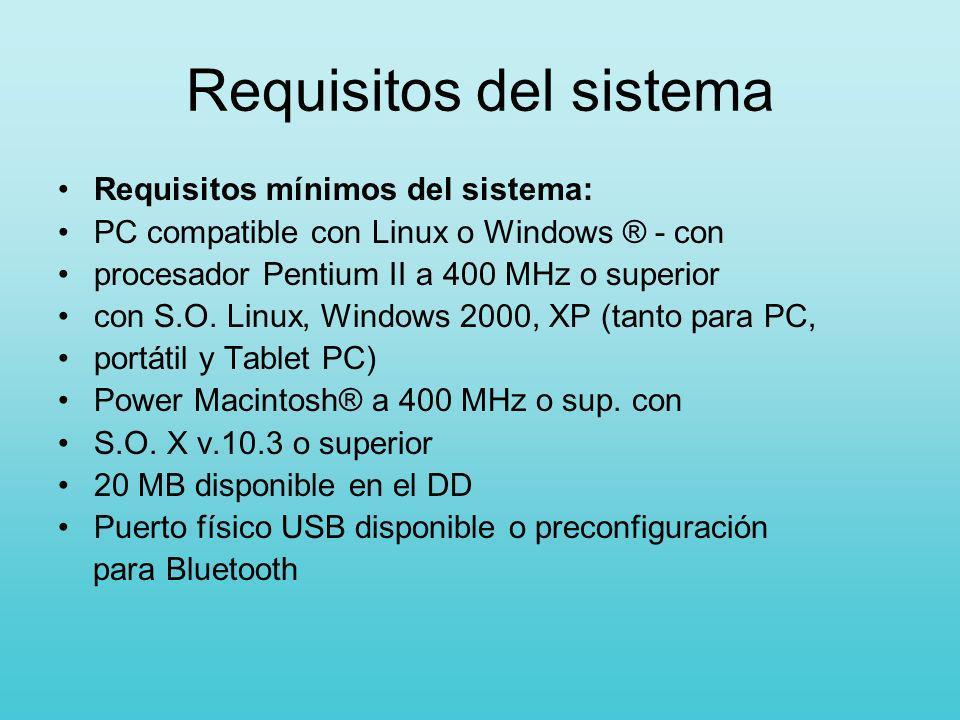 Requisitos del sistema Requisitos mínimos del sistema: PC compatible con Linux o Windows ® - con procesador Pentium II a 400 MHz o superior con S.O. L