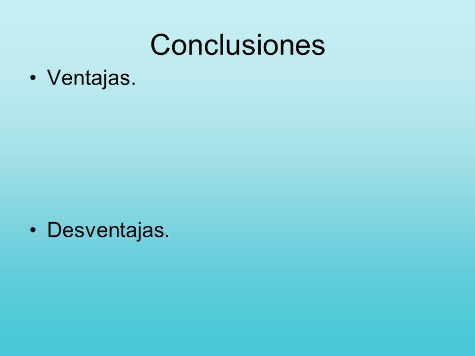 Conclusiones Ventajas. Desventajas.