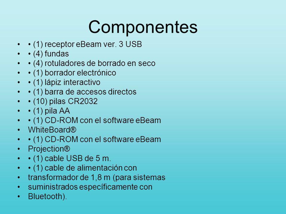 Componentes (1) receptor eBeam ver. 3 USB (4) fundas (4) rotuladores de borrado en seco (1) borrador electrónico (1) lápiz interactivo (1) barra de ac