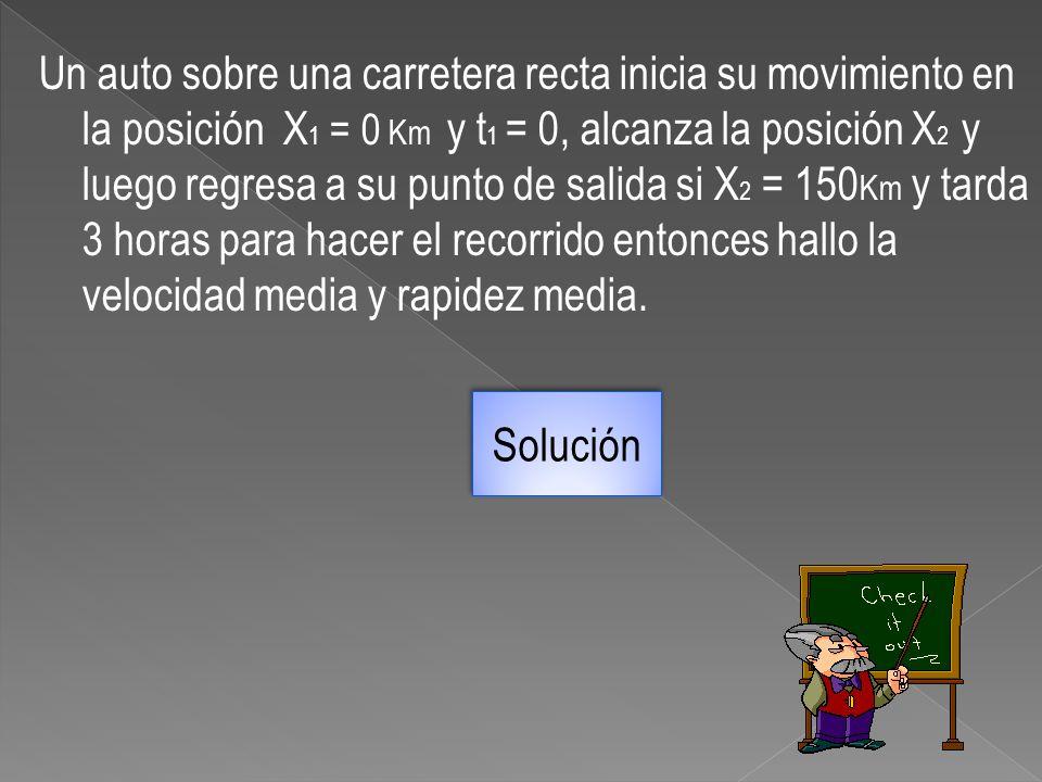 Un auto sobre una carretera recta inicia su movimiento en la posición X 1 = 0 Km y t 1 = 0, alcanza la posición X 2 y luego regresa a su punto de sali