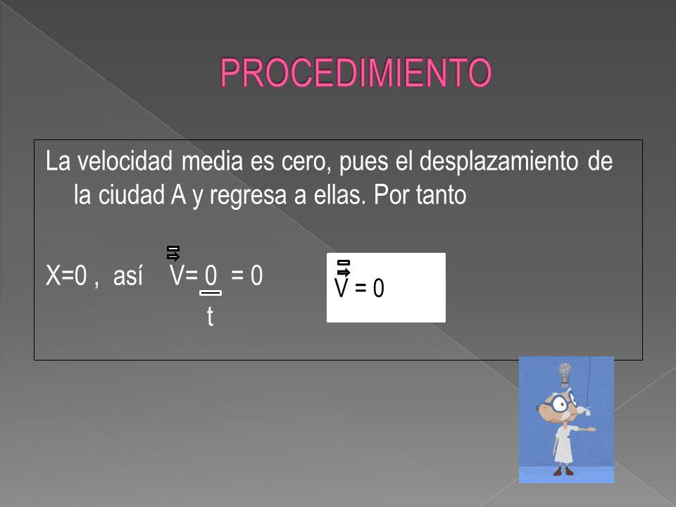 La velocidad media es cero, pues el desplazamiento de la ciudad A y regresa a ellas. Por tanto X=0, así V= 0 = 0 t V = 0